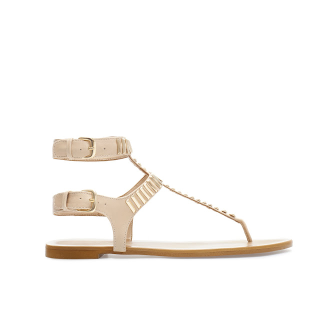 cream metal sandal