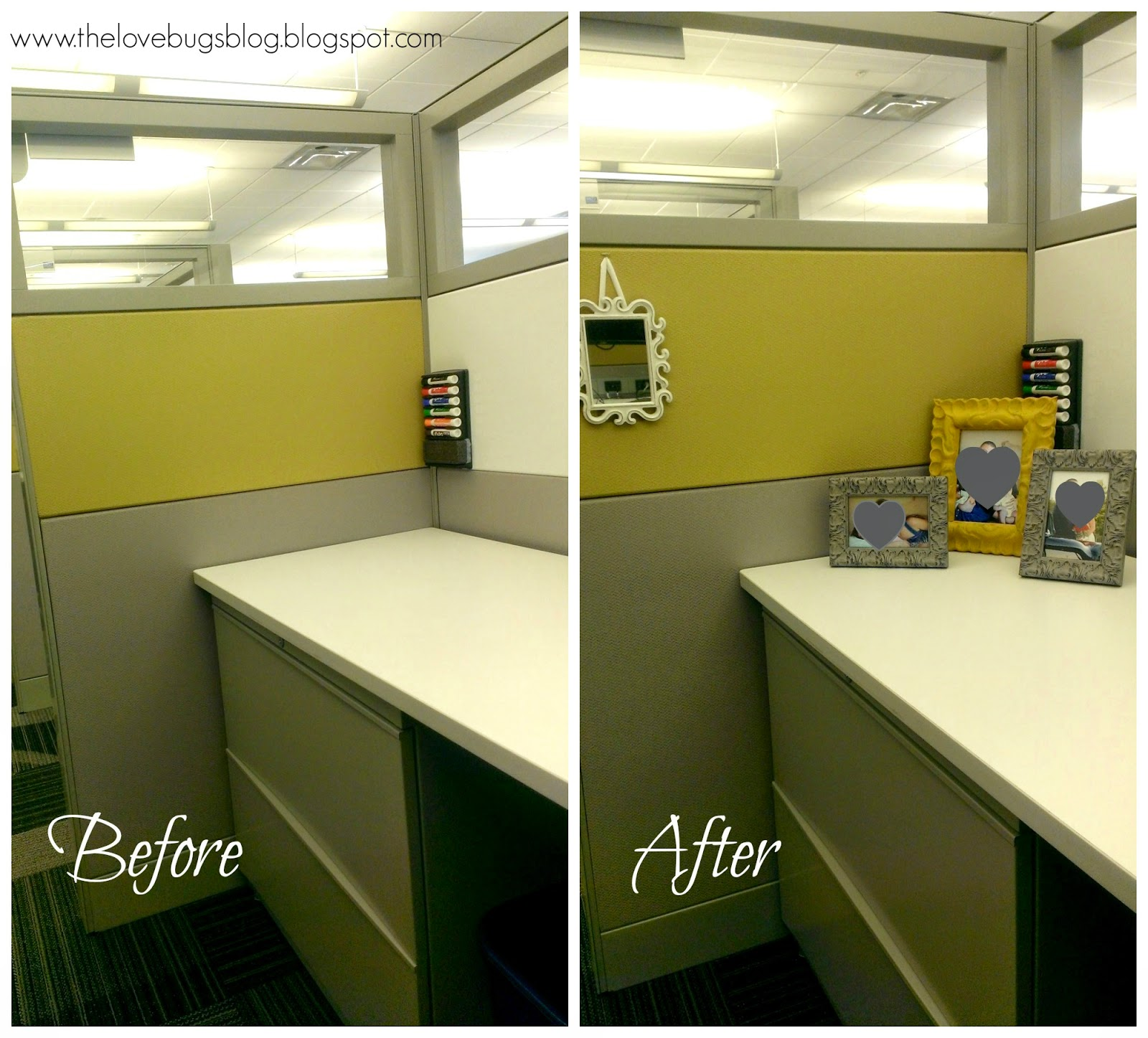 Work Cubicle Makeover - The Lovebugs Blog