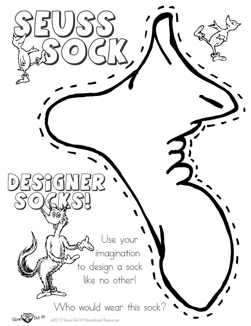 Little Miss Glamour Goes To Kindergarten March 2014 Fox In Socks Coloring Page