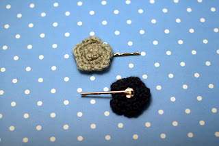 Two Handmade Crochet Flower Bobby Pins in Pale and Navy