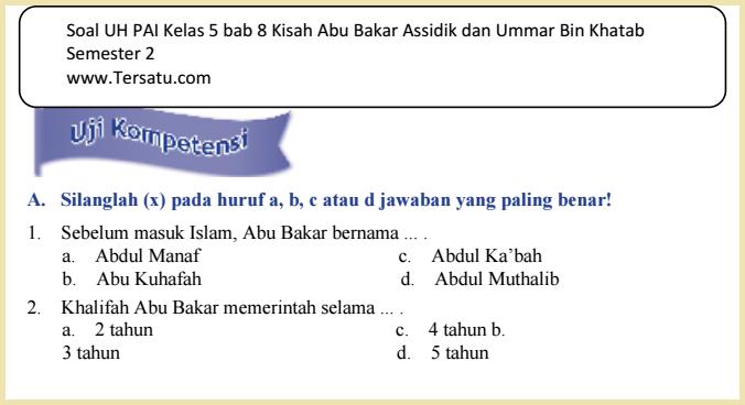 download Soal-Soal UH PAI KTSP Kelas 5 Semester 2 2015