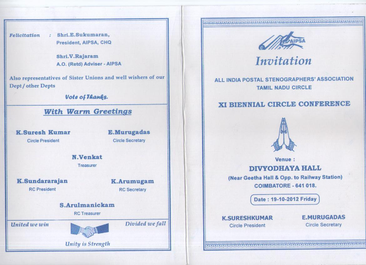 Tamil nadu circle postal stenographers association coimbatore coimbatore conference invitation stopboris Images