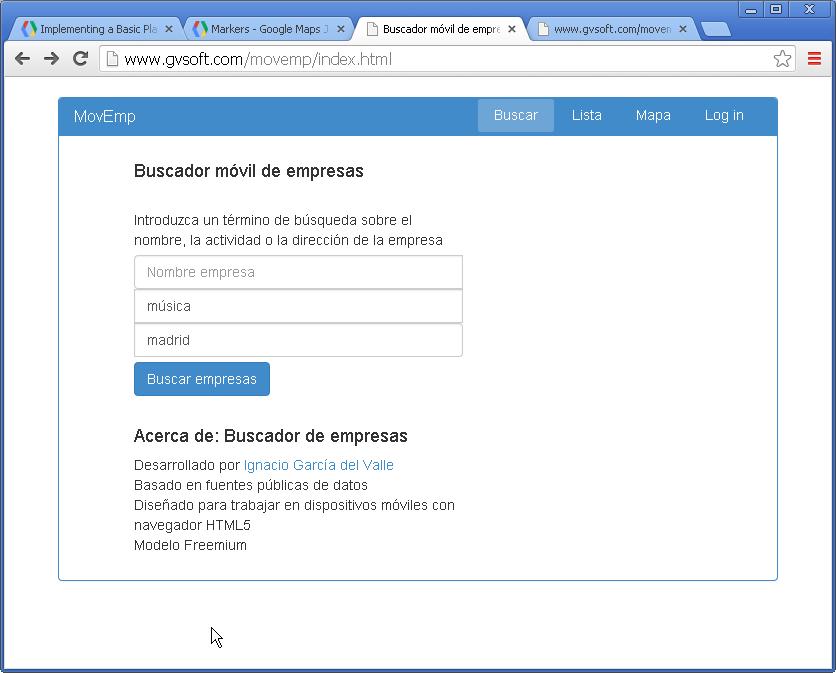 Buscador móvil empresas - formulario búsqueda
