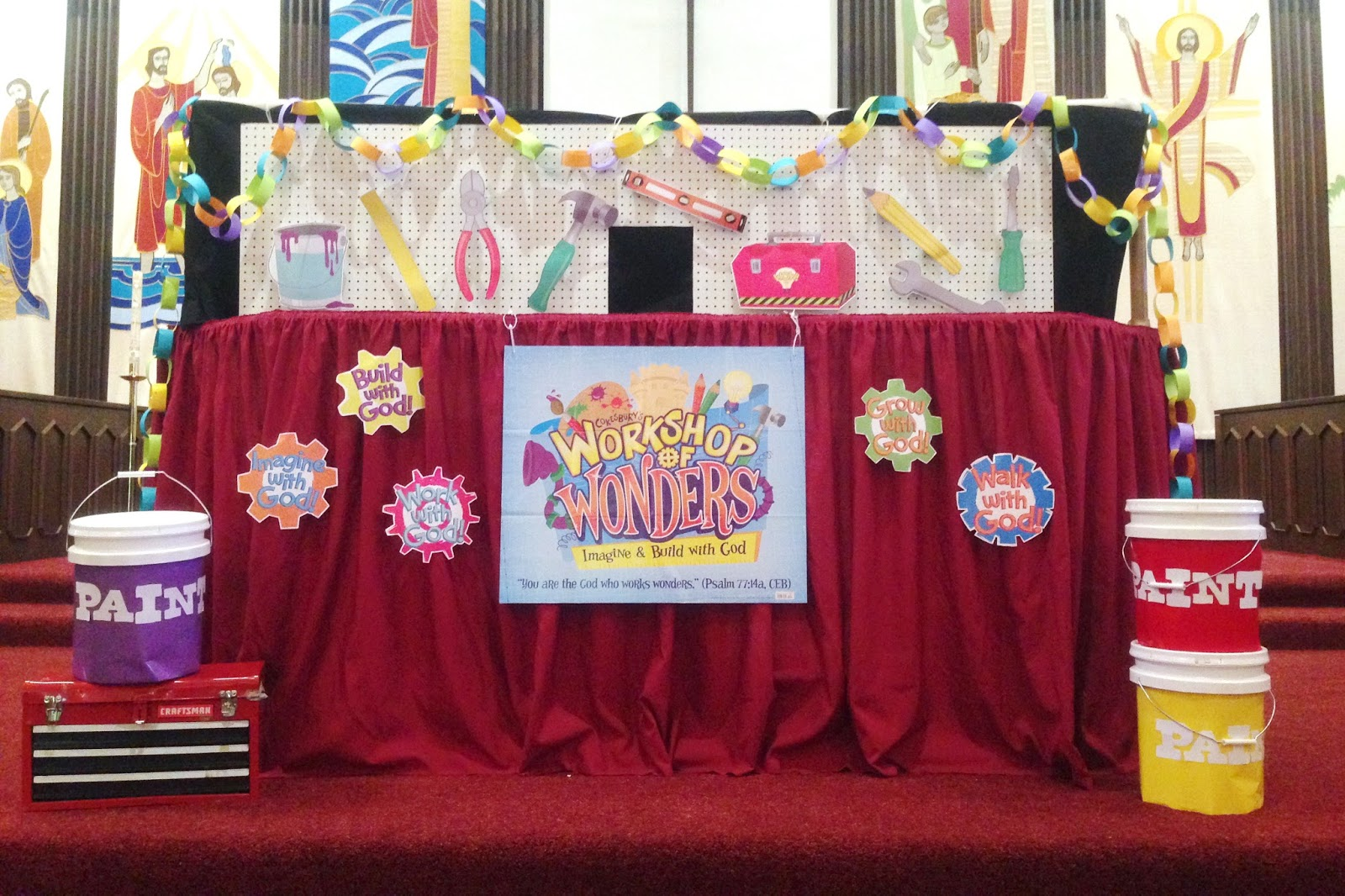 Dancing Commas :: Workshop of Wonders VBS :: Puppet stage with pegboard