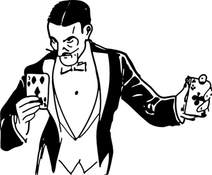 Magician card trick clip art