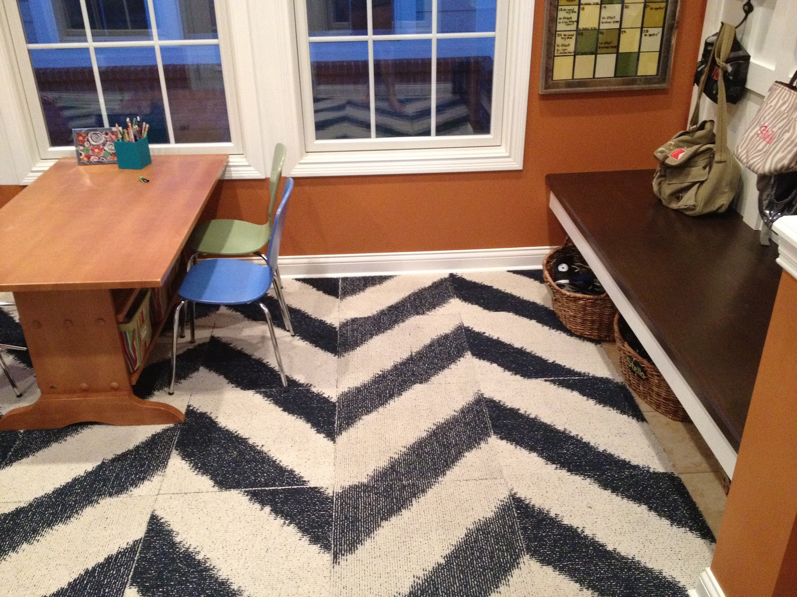 House envy no floor as cool as flor these navy and white chevron tiles are in my house covering up some ugly tile in our sun room turned mudroomhomework area this used to be our toy room and dailygadgetfo Images