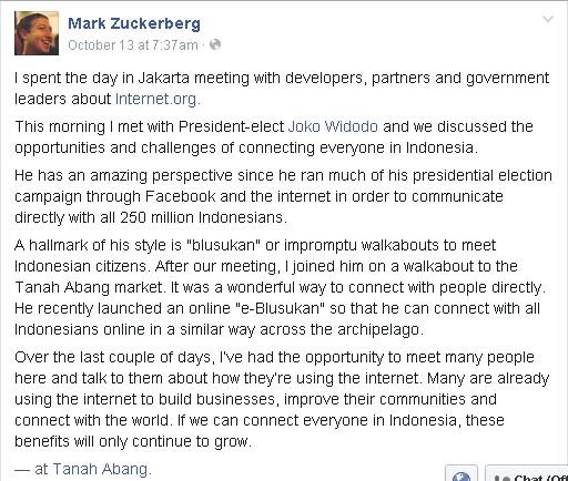 foto  Mark Zuckerberg Facebook Jakarta Jokowi