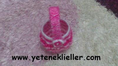 pet şişeden örgü sepet yapımı