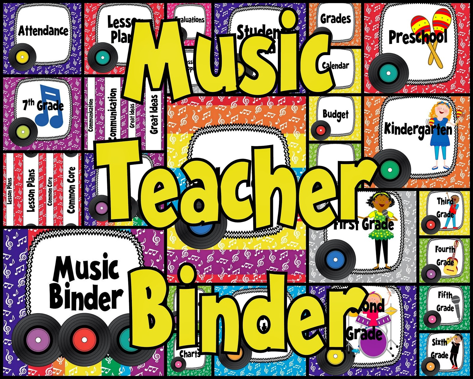 http://www.teacherspayteachers.com/Product/Music-Teacher-Binder-Covers-and-Labels-Rainbow-Records-Design-789481