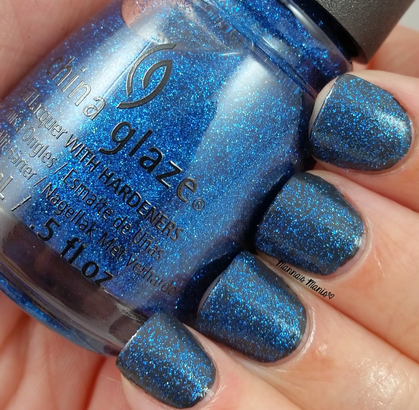 china glaze feeling twinkly, a blue glitter nail polish