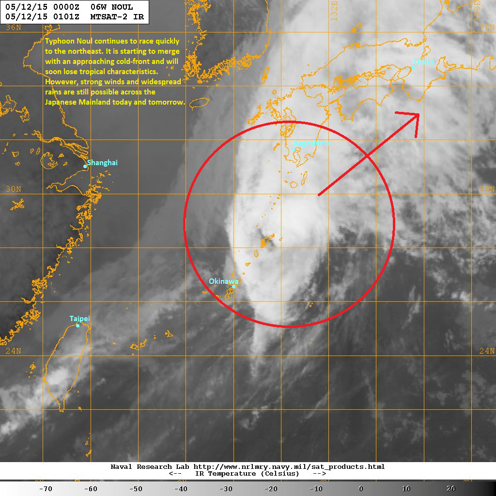 the typhoon is starting to lose tropical characteristics as it starts to merge with an approaching cold front
