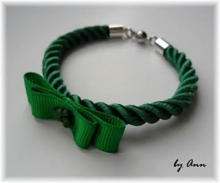 bransoletka sznurek skręcany zieleń z kokardką magnetyczne zapięcie