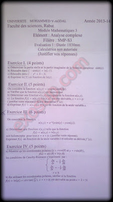 examens corrigés analyse complexe fsr smp s3