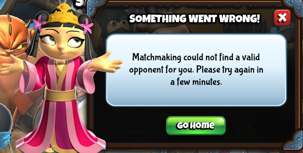 Ninja Kingdom error - cannot find match