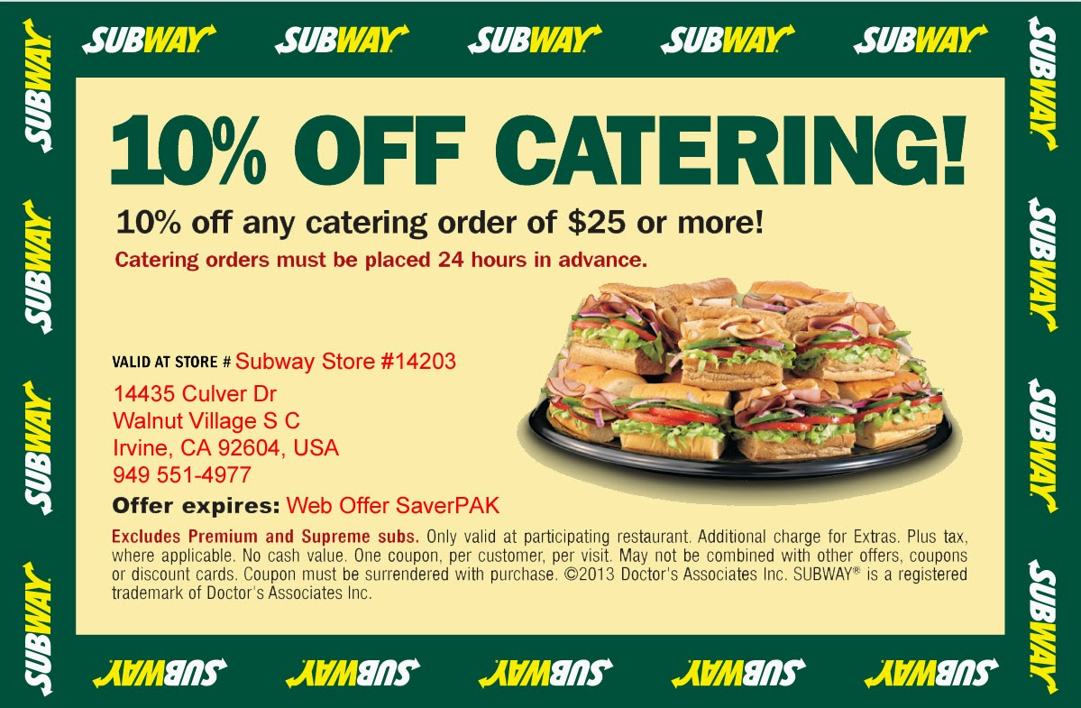 Get exclusive Subway coupon codes & discounts when you join the giveback.cf email list Ends Dec. 31, 80 used this week Satisfy your hunger for tasty fast food made with fresh ingredients by visiting your neighborhood Subway.