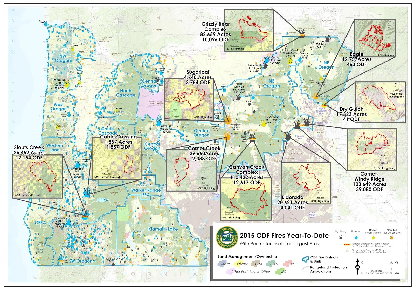 2015 oregon large fire map