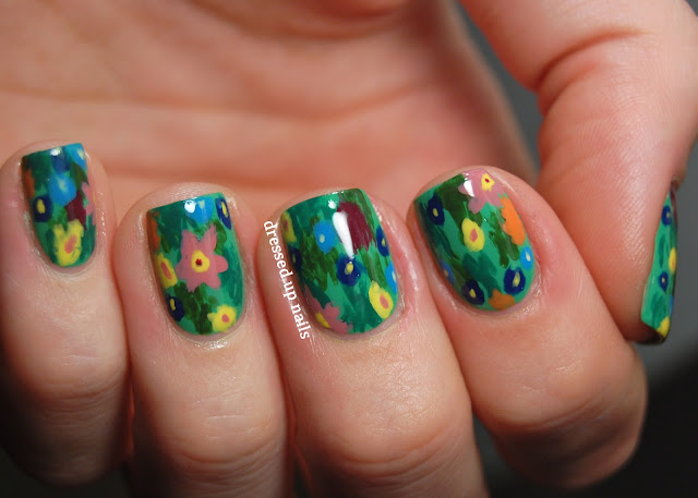 Dressed Up Nails - floral print easy nail art inspired by Gustav Klimt's The Kiss