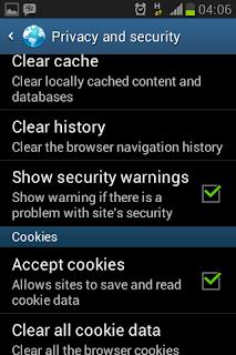 Membersihkan data history pada mobile browser bawaan Android