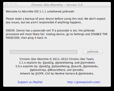Greenpoison Absinthe 2.0.4 iOS 5.1.1 Untethered Jailbreak