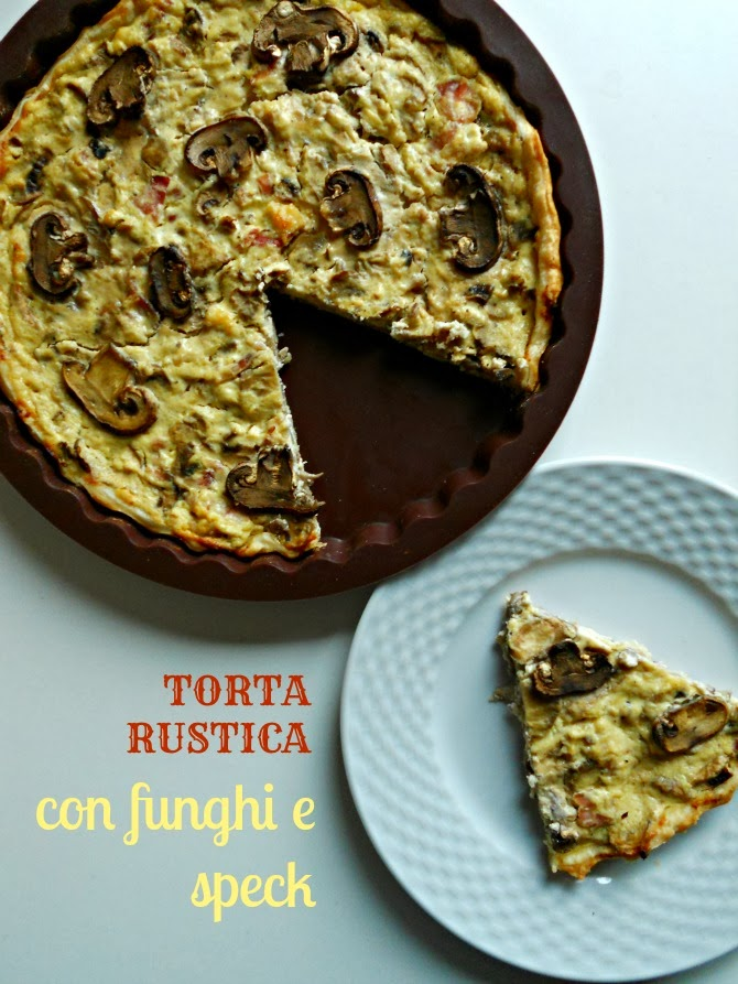 torta rustica con funghi e speck - mushrooms and speck ham pie