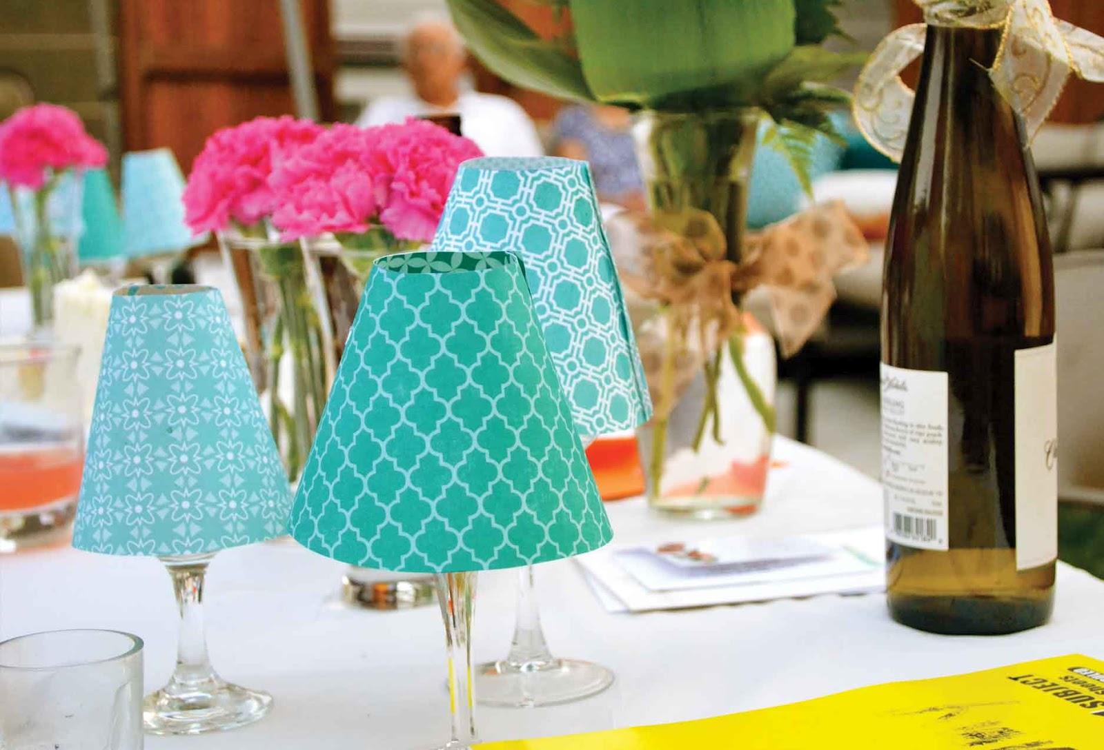 Arabella designs for Wine glass lamp centerpiece