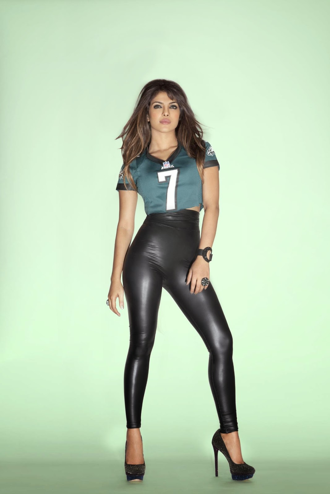 Priyanka Chopra in Kinky NFL Leather Dress