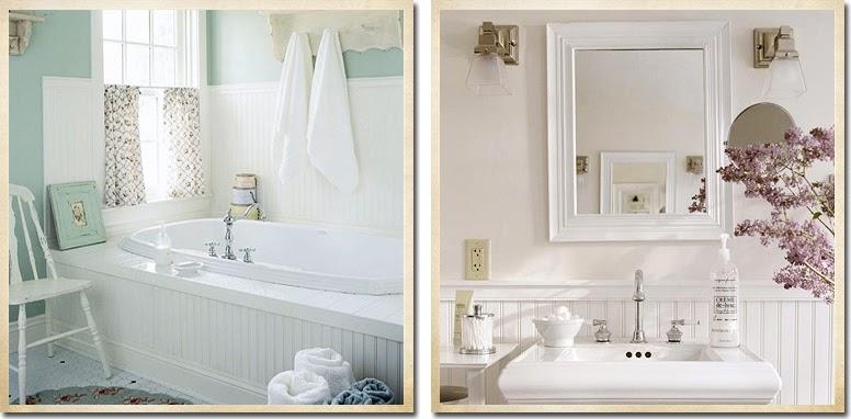 Ispirazione per il bagno shabby chic interiors for Boiserie in legno ikea