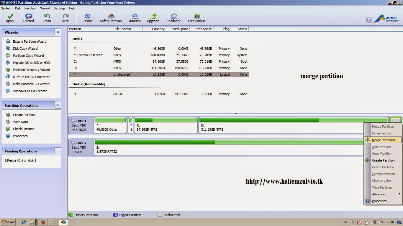 Cara Memperbesar Space Memory File System Local Disk C: