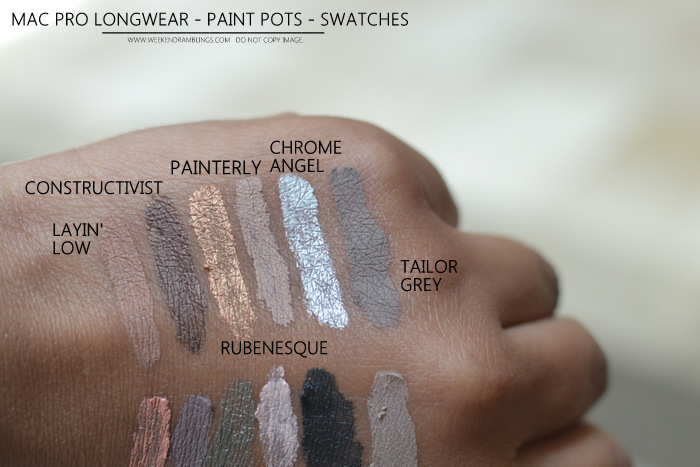MAC Pro Longwear Makeup Collection Paint Pots Swatches Layin Low Contructivist Rubenesque Painterly Chrome Angel Tailor Grey Perky Stormy Pink Antique Diamond Lets Skate Blackground Camel Coat Indian Darker Skin Beauty Blog