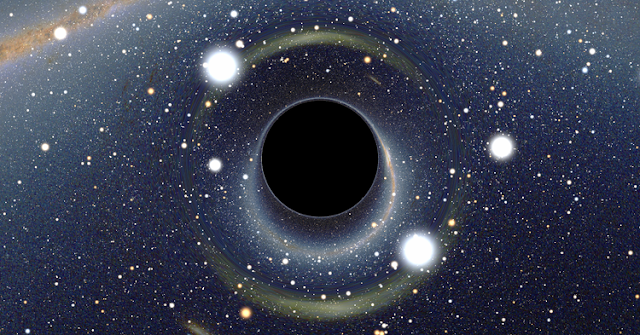 Simulated view of a black hole by Alain Riazuelo of the French National Research Agency, via Wikipedia. (http://go.osu.edu/5zX)