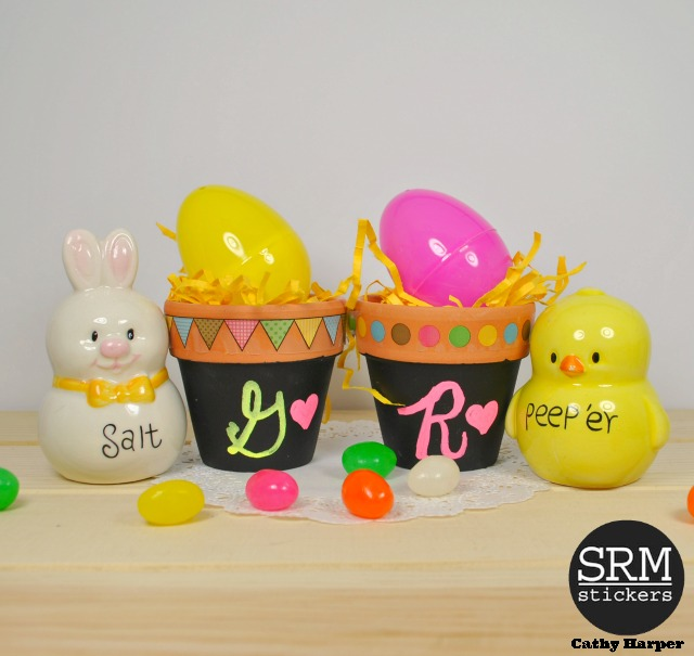 SRM Stickers Blog - Mini Terra Cotta Easter Pots by Cathy H.- #easter #chalkboard #stickers #DIY