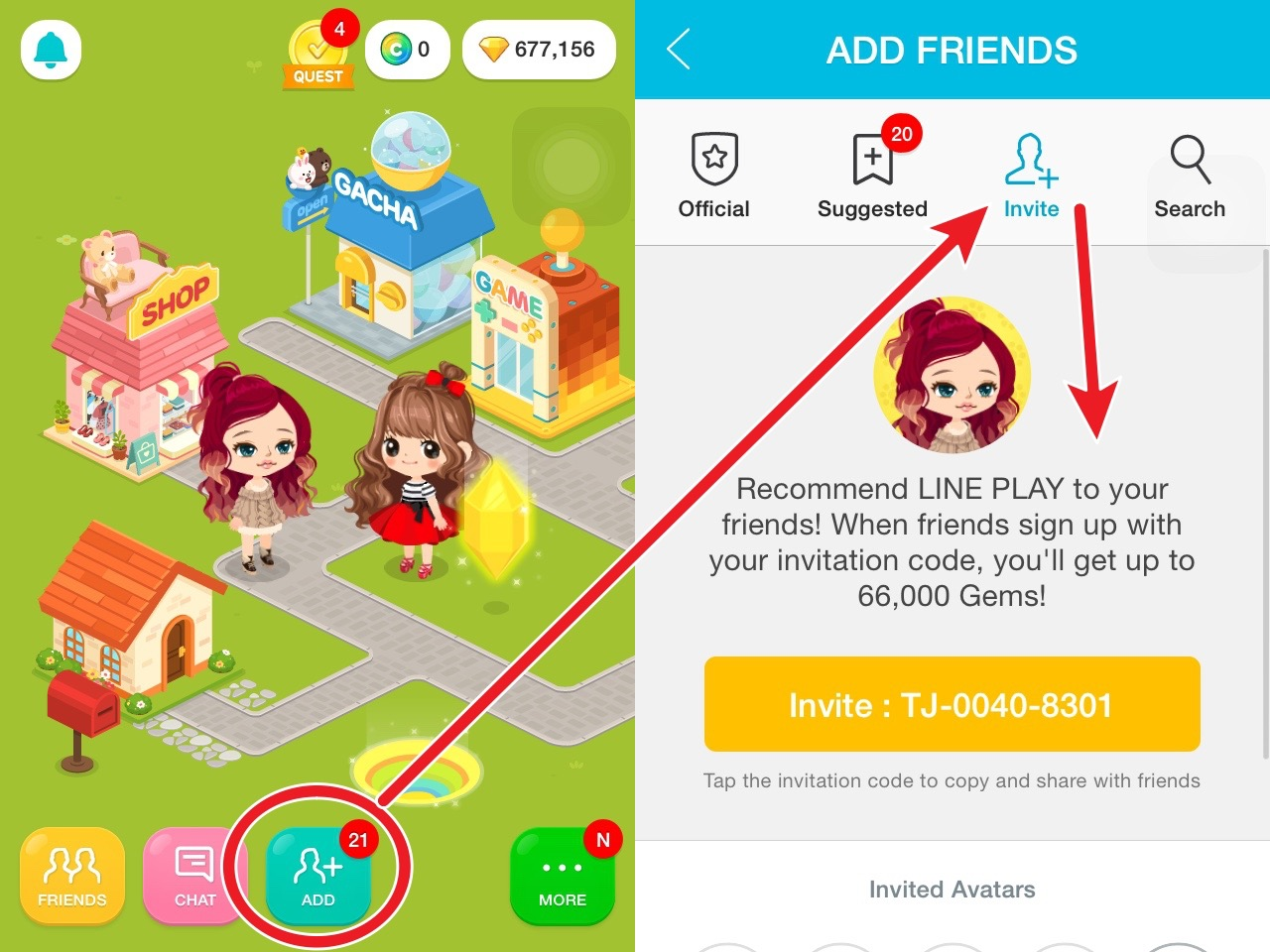 Joilynn the player at line play invite non line players to join ask your friends to key in your code both of you will get gems too stopboris Gallery