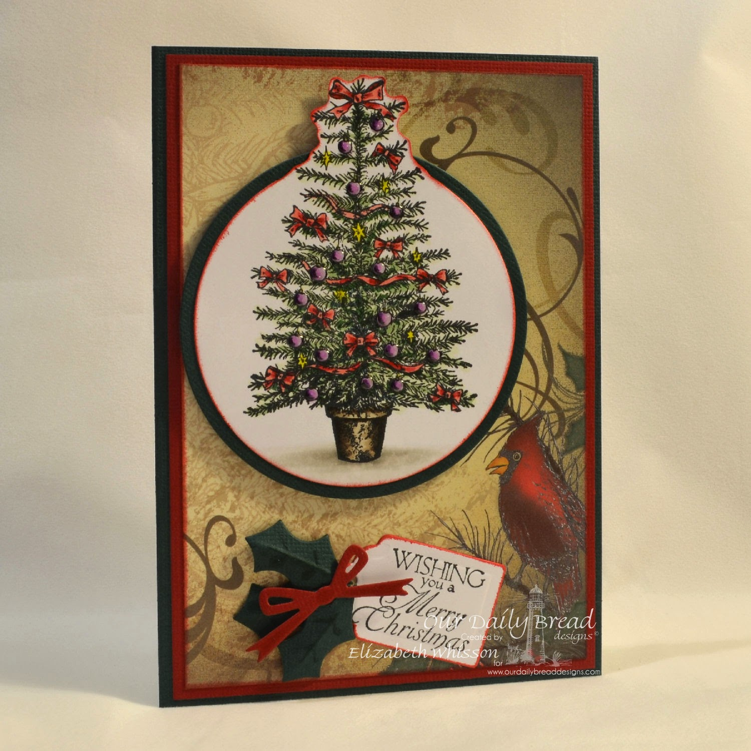 Elizabeth Whisson, Christmas card, Copics, Our Daily Bread Designs, Holly Wreath, Circle Ornaments, Matting Circles, Christmas Paper Collection 2013, Recipe Card and Tags Dies, Country Tree, handmade card