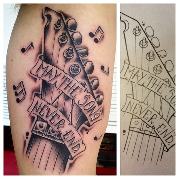 B forearm tattoo memorial guitar tattoos artwork by for Shading tattoo pain