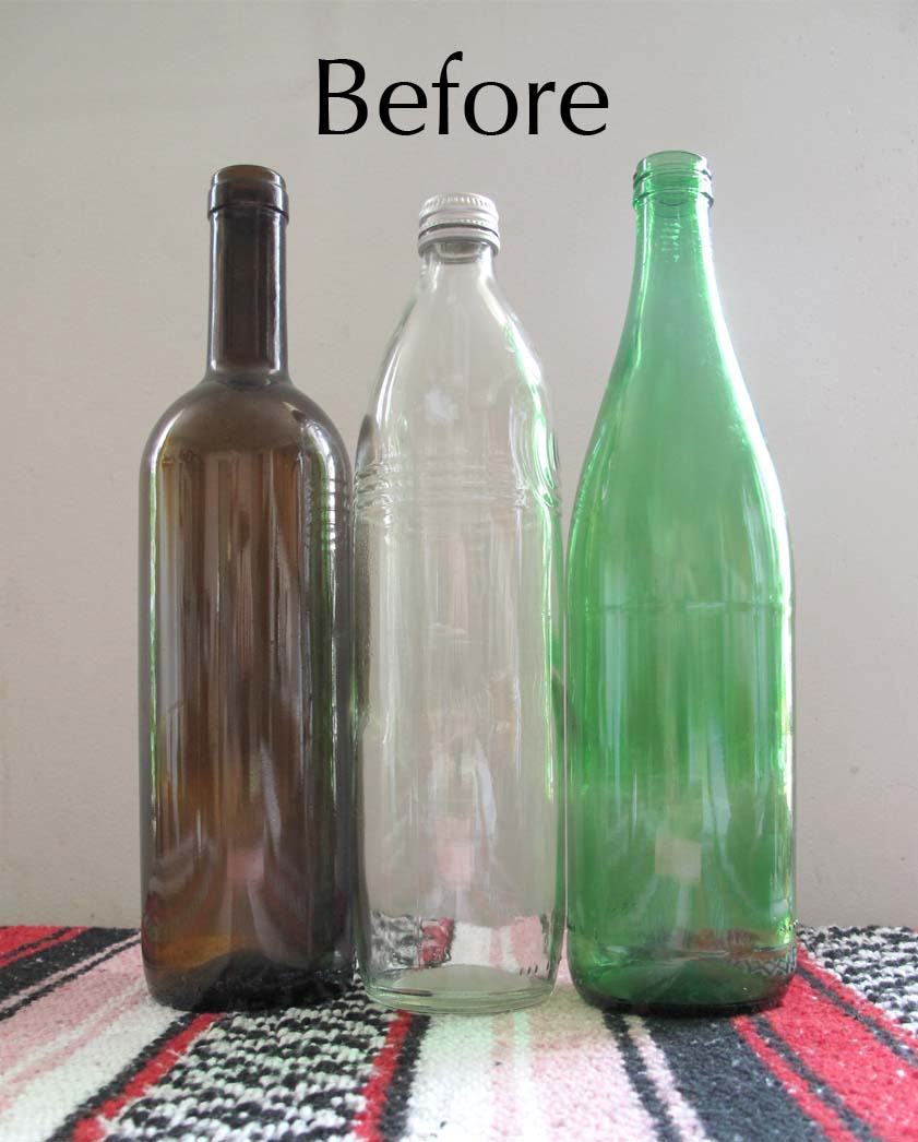 We can re do it painted water bottles Painting old glass bottles
