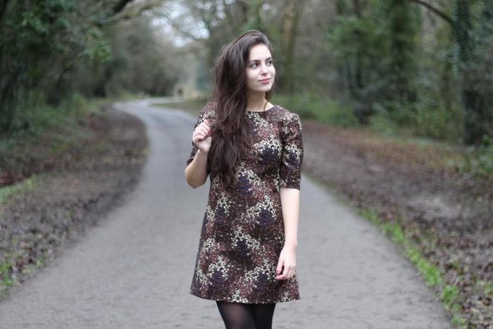 Zara Dress 60s style Brown Style Sales
