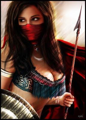 veiled female warrior fantasy art