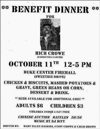 10-11 Benefit Dinner For Rich Crowe