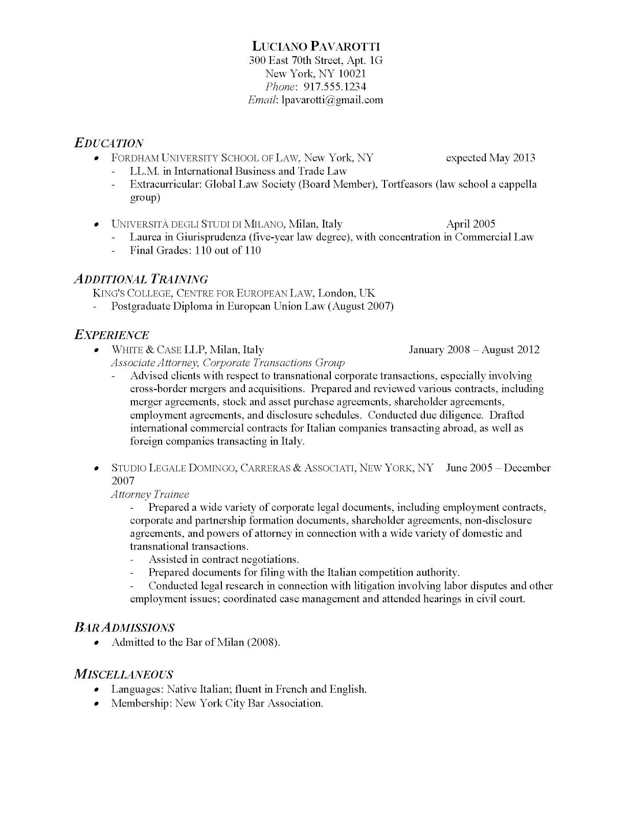 example simple resumes template
