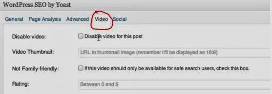 Aba de Vídeo para configuração por postagem.