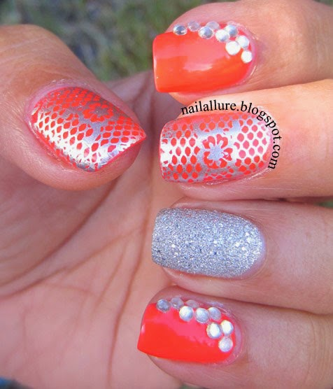 Coral & Silver Manicure with rhinestones