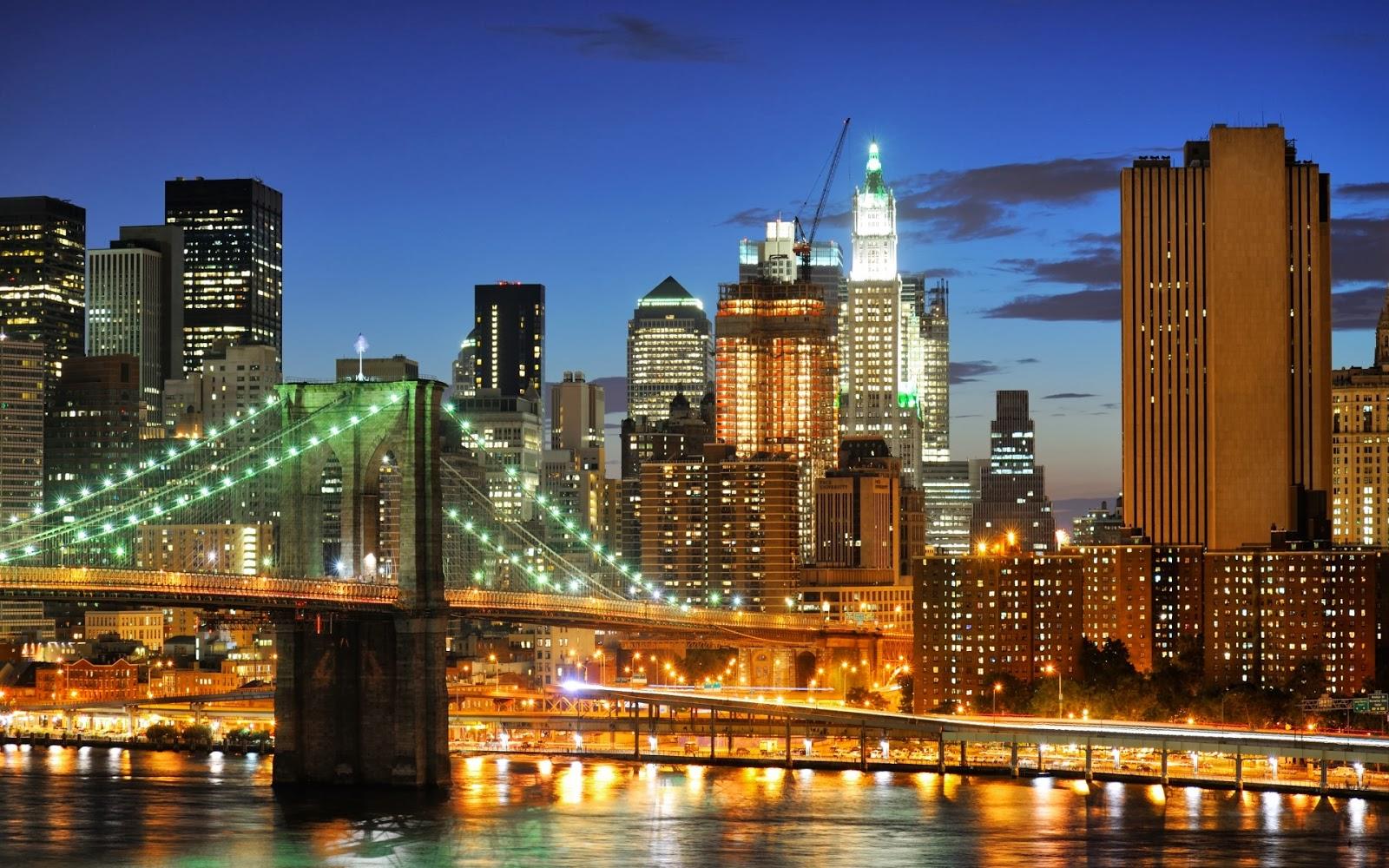 new york at night brooklyn bridge wallpaper beautiful