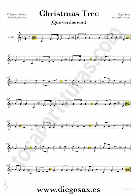 Tubescore Christmas Tree sheet music for Violin Christmas Carol music score