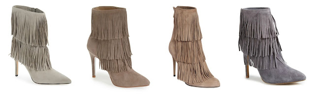 One of these pairs of fringe booties is from Paul Andrew for $1,118 and the other three are under $175. Can you guess which one is the designer pair? Click the links below to see if you are correct!