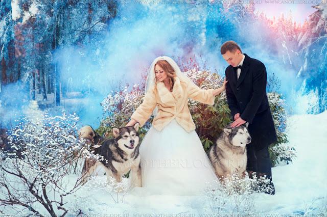 свадебная фотосессия с использованием цветного дыма