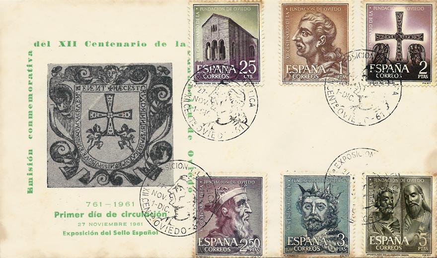 Sobre Primer Día de Circulación de los sellos del XII Centenario de la Fundación de Oviedo