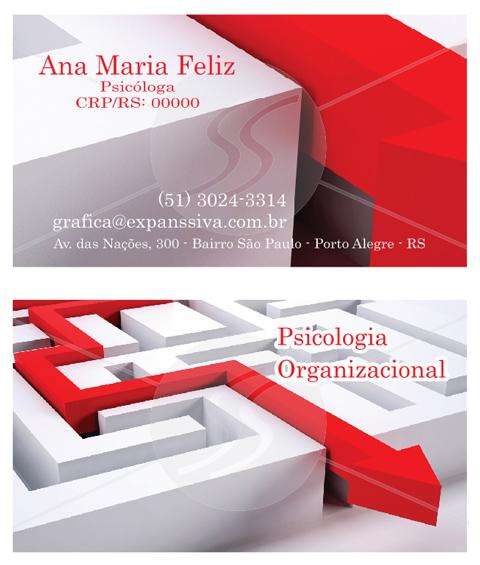 cartoes de psicologia organizacional - Cartões de Visita para Psicólogos