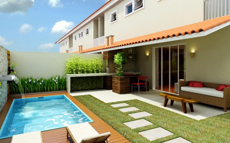 ideias para montar um jardim no quintal : ideias para montar um jardim no quintal:que charme o canteirinho atrás da piscina. Sem folhas pequenas para