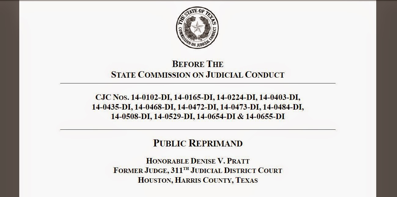 Houston courts cases ex judge denise pratt non news sanctions the pdf version of the sanctions order issued september 4 2014 can be found at httpscjcatetxpdfactionsfy2015 pubsancpdf solutioingenieria Images