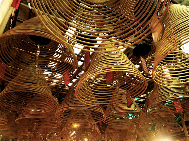 Incense spirals inside Man Mo Temple, Sheung Wan, Hong Kong